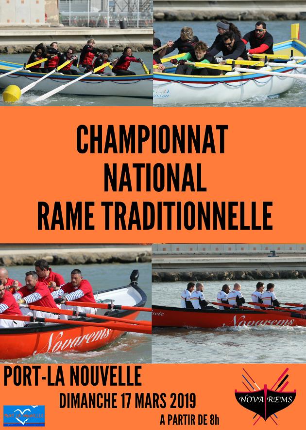 Affiche du championnat 2019 de rame traditionnelle