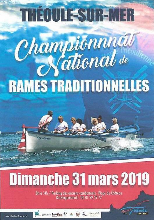 Deuxième manche du championnat de rame traditionnelle à Théoule sur mer le 31 mars 2019