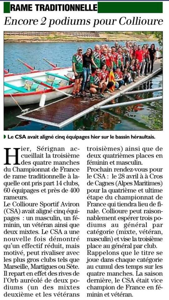 Article de l'indépendant sur le championnat de France à Serignan en avril 2019