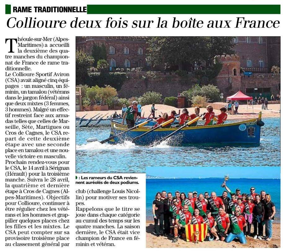 Article de l'indépendant sur le championnat de france de rame traditionnelle 2019 à Théoule
